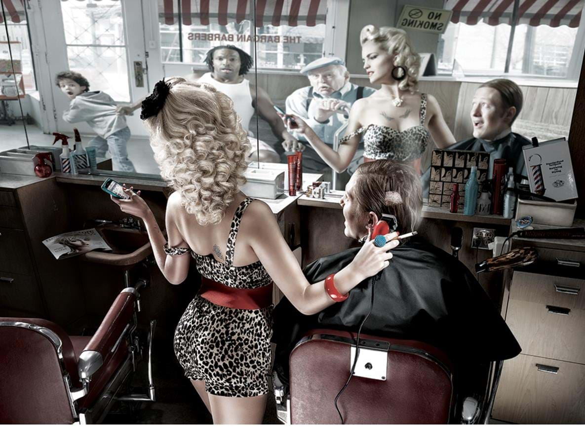 Women cutting hair in barbershop after photo compositing