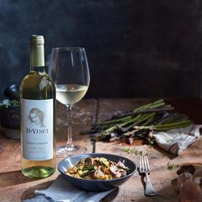 Davinci wine and mushroom risotto food photography