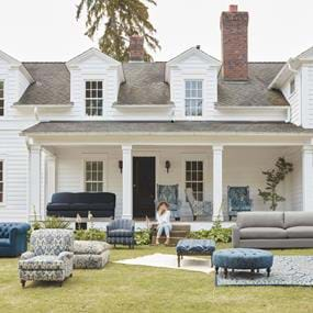 Arhaus custom upholstered chairs outdoor