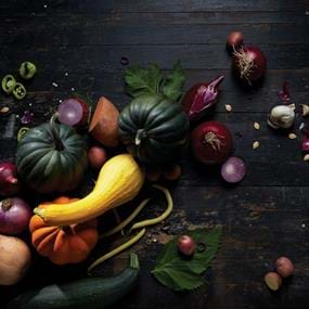 Vitamix fall pumpkins, onions, and squash overhead food photography.