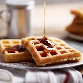 Hungry Jack waffles and syrup food photography