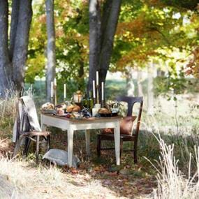 Food photography outside fall dinner set