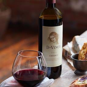 Davinci wine bottle and glass wine photography