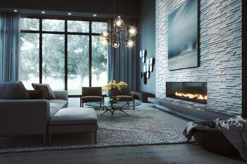 Living room and fireplace created using CGI.